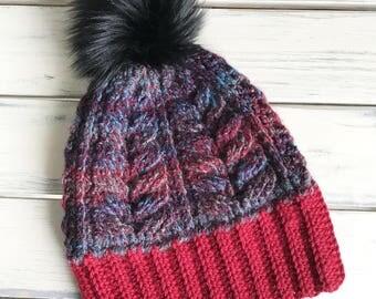 Multi Colour Hat with Faux Fur Pom