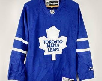 Rare Authentic NHL Reebok Toronto Maple Leafs CCM Hockey Jersey Patch Sewn Jersey Men's Small