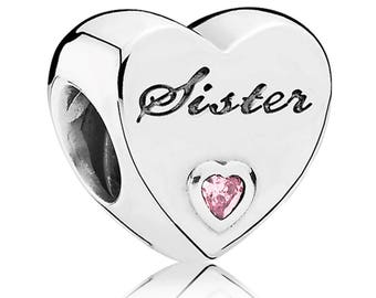Authentic Pandora Sister's Love Charm, Bead Charm SILVER S 925 ALE
