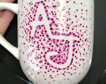 Two Initial Mug/Polka Dot/Painted/Customizeable