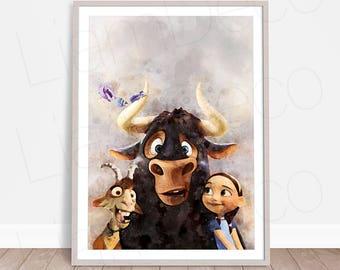 Ferdinand Print, Blue Sky Studio, Ferdinand Poster, Bull Print, Watercolor Painting Effect, Instant Download, Nursery Print, Ferdinand Movie