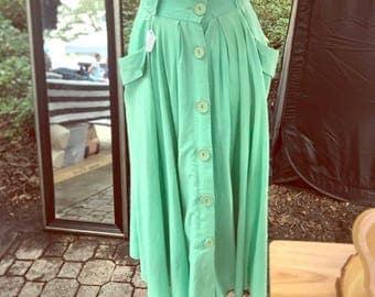 Vintage, Button-Up Maxi Skirt