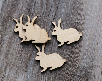 Unfinished wooden Easter bunny with hole,wooden rabbit,plain wood Embellishments for Craft ,DIY Crafting Wood laser cut gift tags