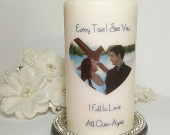 Unscented Pillar Candle, Pillar Candle, Unity Candle, Keepsake, Gift For Her, wedding decor,wedding, Unique Gift, Personalized Candle