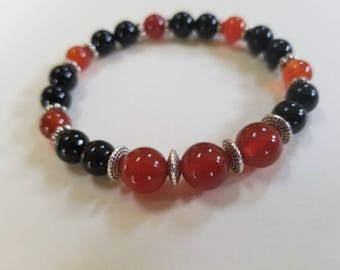 Red Agate with Black Onyx Gemstones
