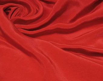 "Pure Mulberry Silk Sample/ Yards/Meters Pure Silk Fabric Crepe De Chine 45"" wide 14momme racing red color crepe-14-14mm online"