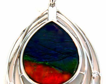 14K White Gold Pendant with Canadian Ammolite and Diamonds
