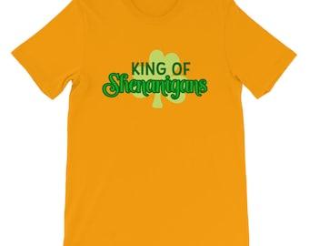 King of Shenanigans St Patricks Day Clover Short-Sleeve Unisex T-Shirt