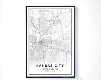 Kansas City Art, Kansas City Map, Kansas City Print, Kansas City Printable, Kansas City Wall Art, Modern Map Print, City Map Art, City Print