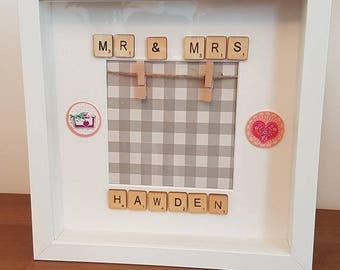 personalised Mr and Mrs WEDDING frame gift