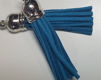 Long Blue Tassels - 10 Long Tassels with Silver Caps - Decorative Tassels For Jewelry - Purse Tassels - Key Chains - Pendants