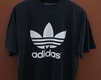Vintage Adidas Trefoil Big Logo T-Shirt Sport Swag Rap Top Tee Size L