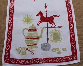 1950s Vintage Linen Kitchen Tea Towel, Horse Weather Vane, Teapot, Red, Green, White