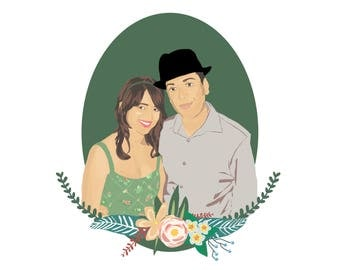 Custom Couple Illustration | Digital | Anniversary Gift | Custom Portrait | Couple Illustration | Wall Art | Personalised Gift