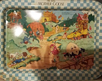 1987 Mother Goose Metal T.V. Tray
