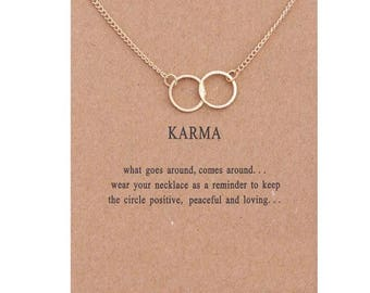 Gold KARMA DOUBLE CIRCLE message necklace new present gift thoughtful