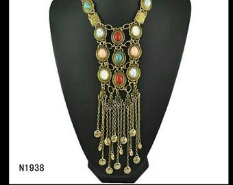 Necklace pendant vintage, gold, multicolor