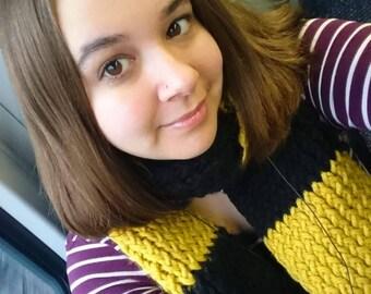 Homemade stripey scarf