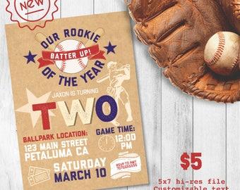 Boy Baseball Birthday Invite, Baseball Birthday Invite