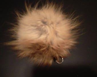 Real Fox Fur Pom Pom Keychain