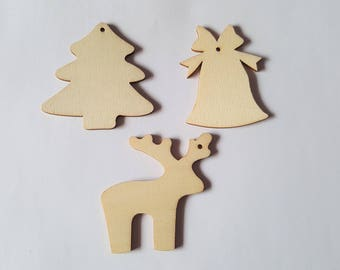 70mm christmas shapes, Wooden christmas shapes, Christmas shapes, Wooden shapes, Wood craft shapes, Christmas, Bell, Reindeer, Tree
