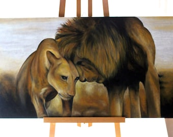 Lions' love - oil on wood panel - painting
