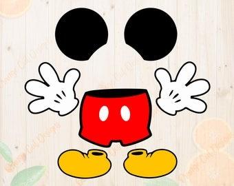 Mickey body Svg, Mickey ears cut files, mickey gloves svg, Mickey Dxf, Eps, Png. Mickey body svg, Mickey body cutfiles, Mickey mouse clipart