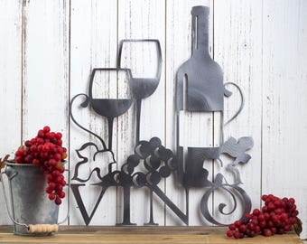 Vino Metal Sign | Wine Decor | Wine Sign | Metal Wall Art | Metal Wall