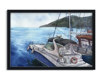 Watercolor Landscape with Sea and Boat / Digital Art Print / Wall Art / Instant Download Print