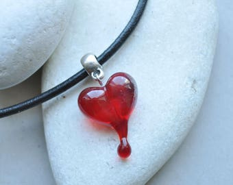 Heart glass pendant. Lampwork pendant. Designer pendant, fashion jewelry. Valentines day gift