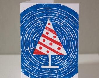 Woodcut Christmas Tree Card