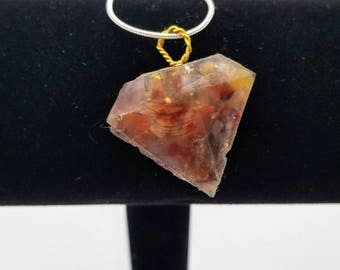 Combination Feather/Crystal (Red Agate) Resin Encased Gem Pendant Necklace