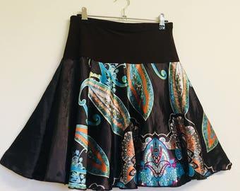 Boho-style Silk Mini Skirt w/ Elastic waist.