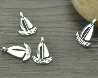 40 pcs sailboat charms, Sea charms, Antique silver charms, Metal charms, Alloy charms, Jewelry findings, 18 mm x 12 mm, Cheap charms, A33