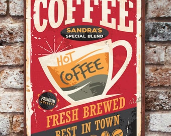 Personalized Vintage Coffee Sign Canvas - Red Background - Personalized Print - Coffee Print - Unframed Print - Wall Decor - Vintage Print