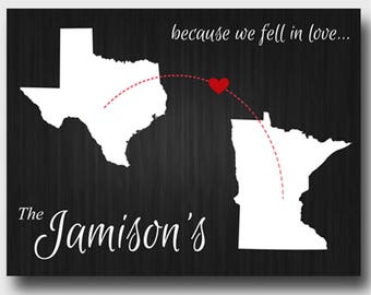 Personalized Because We Fell in Love Canvas - Family Print - Family Wall Decor - Canvas Print - Love Canvas Print -  Heart Prints