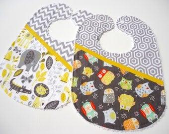 Chenille baby bibs- Baby bibs -Baby owles bib-Baby safari bib-Baby feeding bibs-Baby shower gift-Burping bibs