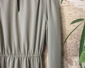 Vintage Full Sleeve Sage Green Dress