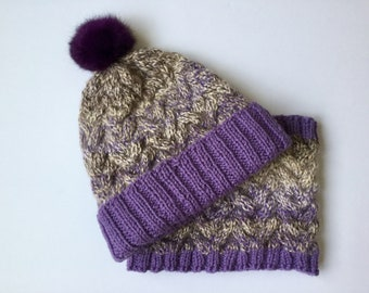 Hand Knit Purple Grayish Matching set, Braided Cable Hat and Cowl, Real Fur Pom pom
