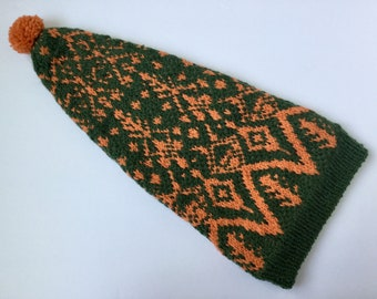 Hand Knitted Green Orange Long Hat, Stranded Colorwork, Fair Isle Knit hat, Slouchy Hat, 100% Wool