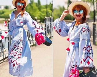 Vyshyvanka Dress Long Embroidered Kaftan Abaya Linen Boho Dresses Ukrainian Embroidery Custom Boho Clothing Vishivanka Bohemian Caftan