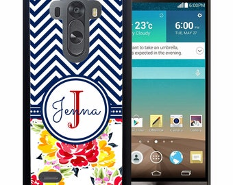 Personalized Rubber Case For LG  3, 4, 5, 6 - Red Navy Chevron Flowers
