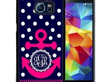 Monogrammed Rubber Case For Samsung S5, S6, S6 edge, S6 Edge Plus, S7, S7 Edge,  8, 8 plus - Navy Polka Dot Hot Pink