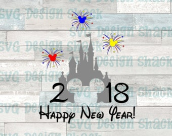 Castle Happy New Year Mickey Mouse SVG, DXF, EPS, Studio 3, Png