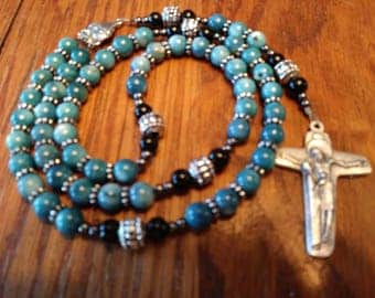 Catholic Rosary - Natural River Shell Bead, Semi-Precious, Heirloom Quality, 5 Decade Rosary, Flex Wire