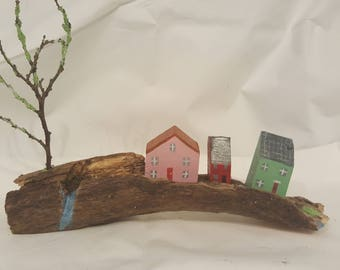 Painted wooden village.