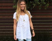 Distressed White Luna Top - Bohemian Shirt - Distressed White Knit - Women's Shirt - Ladies Oversized Shirt - Long Flowy Tee - Gift For Her