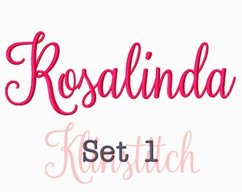 50% Sale!! Set 1 Rosalinda Embroidery Fonts 5 Sizes Fonts BX Fonts Embroidery Designs PES Fonts Alphabets - Instant Download