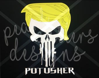 Trump Punisher Skull Vinyl Decal with Rifles