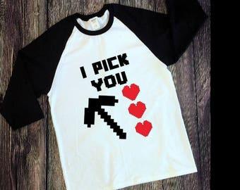 "Customizable Kids' ""I Pick You"" Minecraft Valentine Raglan T-shirt/Boy's Valentines Shirt/Girls Valentines Shirt/Valentines Day"